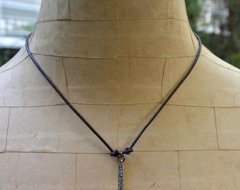 Pavé Diamond Bar Leather Cord Necklace