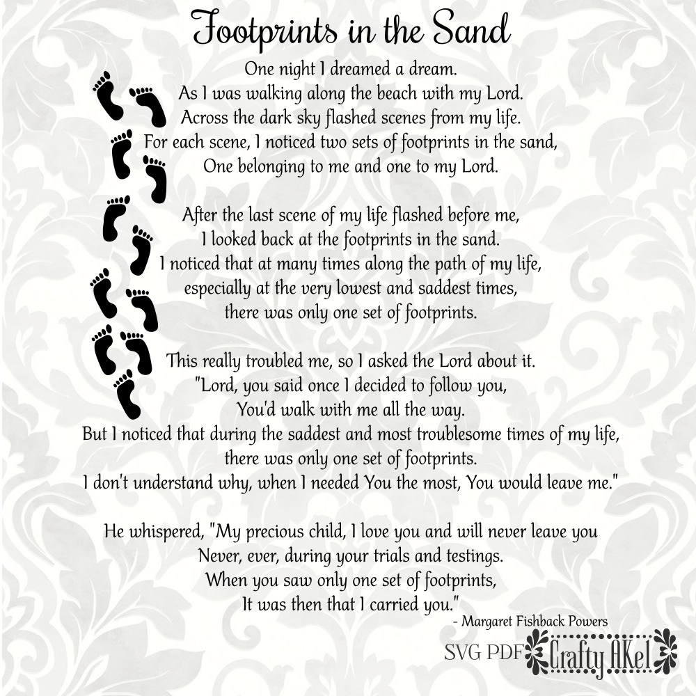 It is a photo of Influential Footprints in the Sand Poem Printable