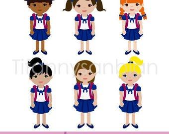 little girl at school, little girl at school clipart, girl with backpack, girl with school uniform, back to school, children in vector