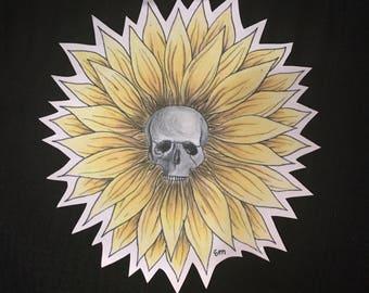 Sunflower Skull Sticker