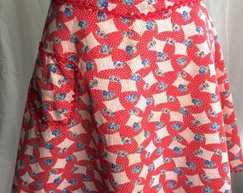 1960's Red, White and Blue patterned and floral half Apron
