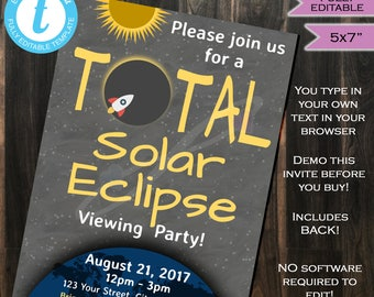 Solar Eclipse Invitation- Total Solar Eclipse 2017- Sun Moon- Solar Eclipse Party- August 21- Personalize Custom INSTANT Self-EDITABLE 5x7