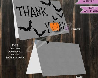 Thank You Card Halloween - Baby Thanks - Folded Card Blank Inside- Pumpkin Halloween theme decoration- Printable INSTANT DOWNLOAD 3.5x5in A1