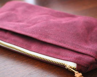 Waxed Canvas Clutch, Waxed Canvas Wristlet,  Waxed Canvas Zipper Pouch, Waxed Canvas Bag