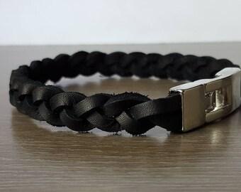 Men's Black Leather Braided Bracelet