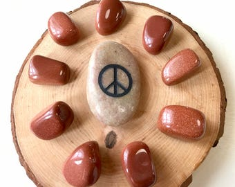 Peace Sign Inspiration Rock with one Goldtone Tumbled Crystal