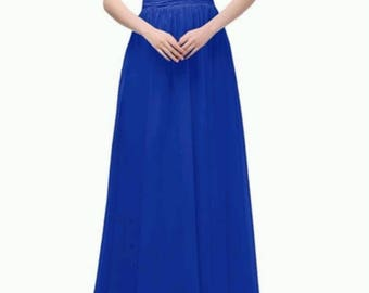Royal Blue Long chiffon bridesmaids dress