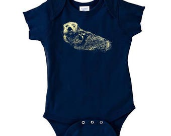 Sea Otter Baby Onesie, 10% Donated to Animal Causes, Baby One Piece, Baby Bodysuit