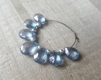 Teal Mystic Coated Quartz Faceted Flat Pear Teardrop Briolette Beads