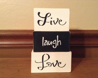 Live Laugh Love Rustic, Distressed Wooden Blocks Home Decor