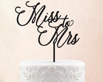 Bridal Shower Cake Topper Customized Wedding Cake Topper, Personalized Cake Topper for Wedding, Miss to Mrs Cake Topper 49