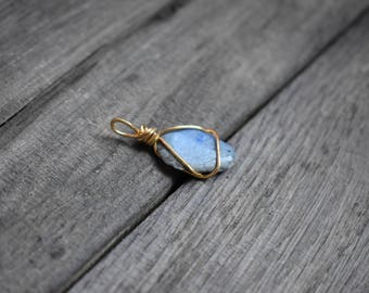 Dumortierite - natural gemstone and sterling silver gold plated bail pendant