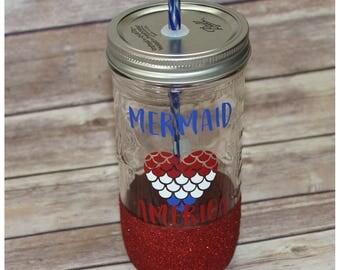 Mermaid In America Glitter Dipped Mason Jar Tumbler