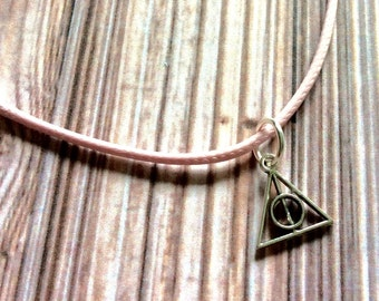 Deathly hallows necklace, cord Harry Potter necklace, Harry Potter cord necklace, Harry Potter pendant, deathly hallows charm necklace,
