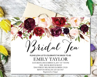 Bridal Tea Party Invitation, Editable Bridal Shower Invite Template, Boho Bridal Tea, Bridal Tea Party, INSTANT DOWNLOAD, Bridal Tea 03