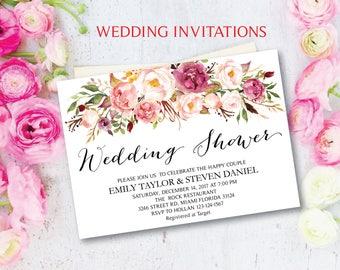 Wedding Shower Invitation, Fun Floral Bridal Shower Card, Couples Shower Invite, Editable Card Printable Instant Download, Wedding Shower 17