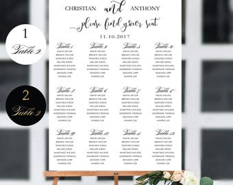Wedding Seating Chart Template, Wedding seating chart, Wedding seating chart poster, Wedding table seating assignment, seating chart, SC94-1