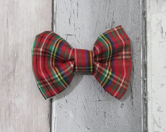 Red Tartan Dog Bow Tie, Dog clothing, Doggy Bow Tie, Puppy Bow Tie, Detachable Bow Tie, Slip on bow tie