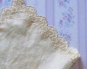 Antique embroidered silk handkerchief 30cm