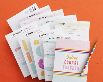 Online Course Tracker Kit, Printables, Instant download, Course tracker, Progress tracker, Printable planner inserts, PDF, A4, A5, US Letter