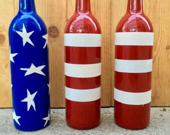 4th of July Wine Bottles Up Cycled