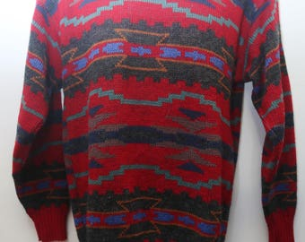 "Rare 80's Vintage ""ALPS"" Funky Abstract Patterned Multicolor Sweater Sz: MEDIUM (Men's Exclusive)"