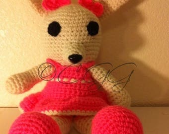 Pinky Bunny: Toy, Amigurumi, Crochet, Handmade, Removable Clothing, Pink Shoes, Pink Dress, White Bunny, Girl, Bunny, Rabbit