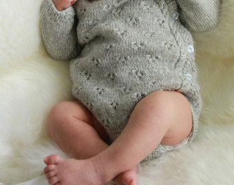 Hand Knit 100% Cashmere Baby Romper / bodysuit - Boy or Girl