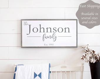 Family Name Sign Wood | Anniversary Gift | Wedding Gift | Family Established Sign | Personalized Family Sign | Last Name Sign
