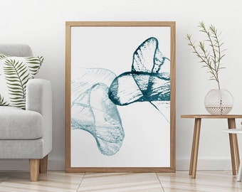 Watercolor Modern Painting Print, Contemporary Wall Art Printable, Blue Minimalist Abstract Decor, Painted Large Poster,  Digital Download