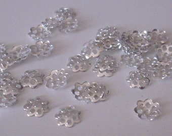 100 bead caps silver 6 mm - beads caps