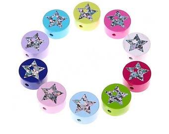 Wooden bead flat star Glitter