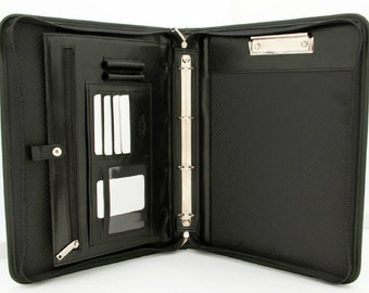 Conference Folder A4,Italian Leather Folder,Ring Binder A4,Clipboard with Handle Black