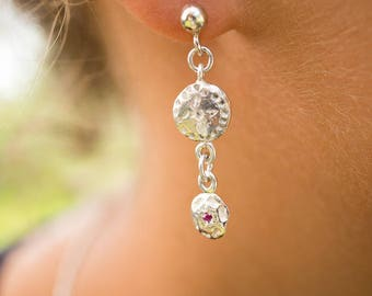 Ancient raw ruby dangle earrings
