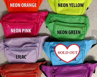 Custom Fanny Waist Packs - PARTY, Bridesmaid, Bachelorette, Neon, 90s