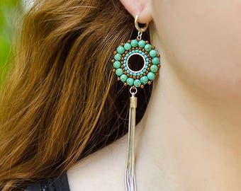 Christmas Gift 2018 Tassel Earrings Statement Wife Gift Idea