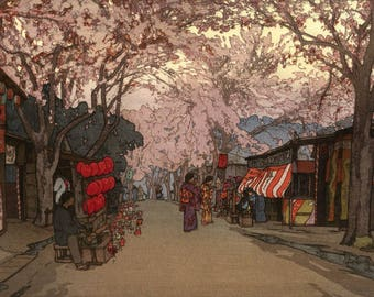 "Japanese Art Print ""Hanazakari (Avenue of Cherry Trees in Full Bloom)"" by Yoshida Hiroshi, woodblock print reproduction, Cherry blossoms"