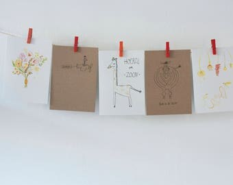 Set Greeting cards/Five pieces/A6 (10.5 x 14.8 cm)/Congratulations card/Birth Announcement/Blank card/card/improvement