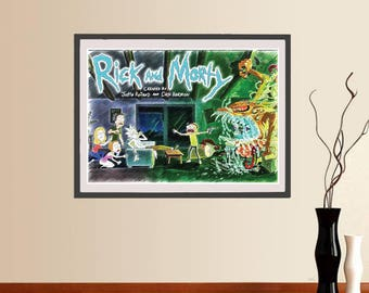 Rick and Morty poster, Printable instant download, TV serie pencil Illustration, Rick and Morty canvas print, wall cool gift, movie prints