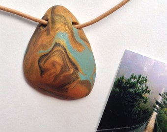 EARTH 51 Nature Elements Necklace Unique Handmade Artistic Pendant Stone Adjustable Leather Cord Perfect Gift for Her