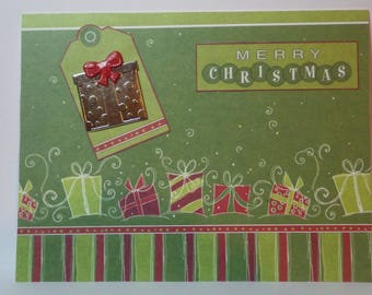 Handmade Christmas Card with package on front