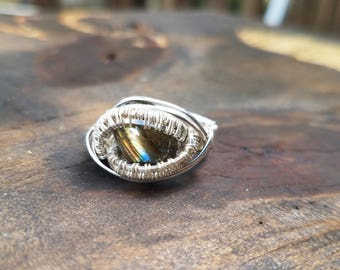 Labradorite and Sterling Silver Wire Wrapped Ring Size 8