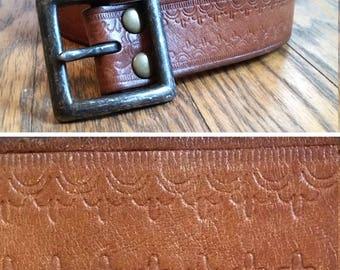 genuine leather belt tooled leather belt brown leather belt vintage leather belt western belt medium