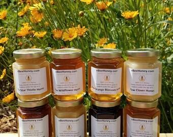 Raw Honey Variety Sampler Pack in 6 oz. Jars - Honey Gift Pack