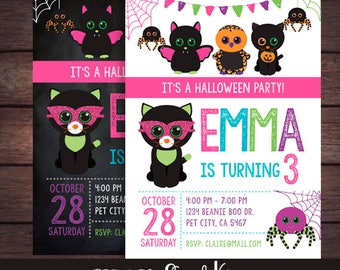 Beanie Boo Halloween Birthday Invitation, Beanie Boo Halloween Party, Printable Invitation, DIGITAL Invite