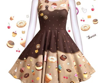 Melty chocolate cakes - cute chocolate skater dress, kawaii cakes skater dress, fairy kei, cupcakes dress, chocolate skater dress -  SD28