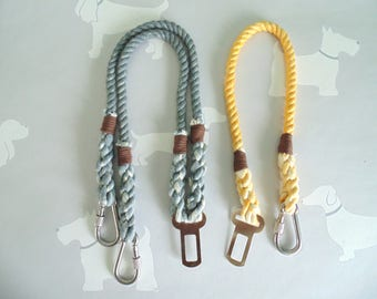 Rope Dog Seat Belt / Single and Double Dog Restraint / Dual / Coupler Lead / Leash / Seatbelt / Two Dogs & Co