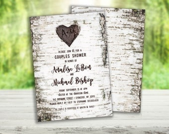 Rustic Birch Wood Shower Invitation, Bridal Shower, Couples Shower, Engagement Party with Birch Carved Heart (5x7 - 2 sides)
