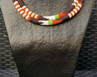 Zulu bead waterfall necklace