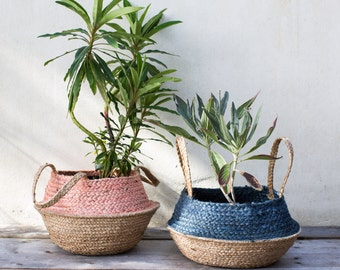 Dusty Pink Or Sea Blue Seagrass Basket